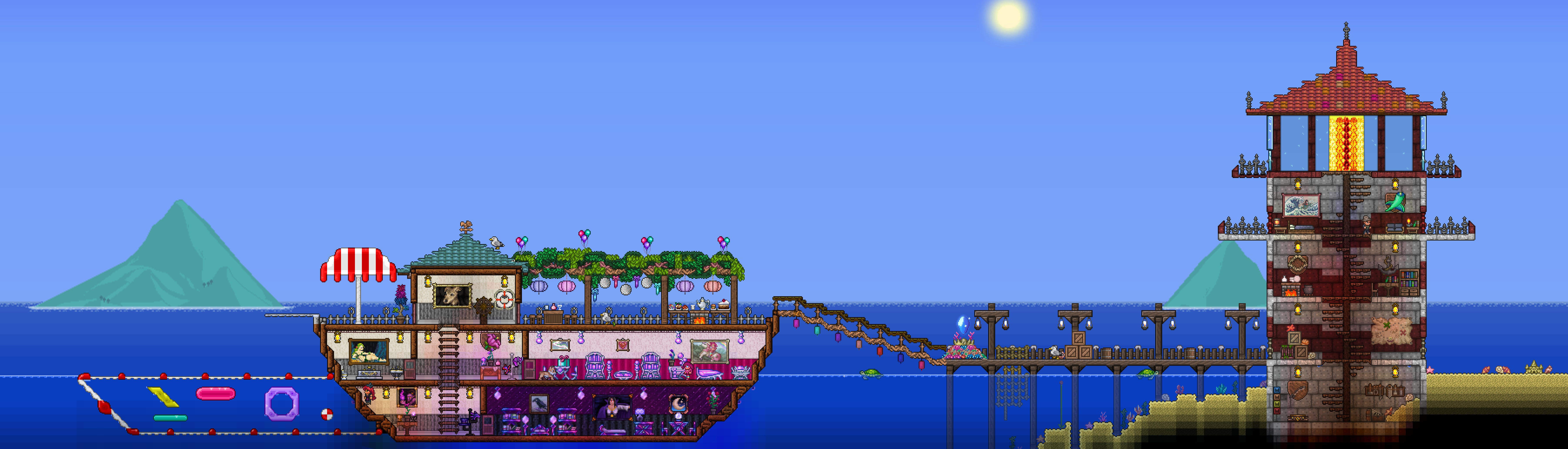 lighthouse and party boat NPC house for The Angler, The Stylist, and The Party Girl